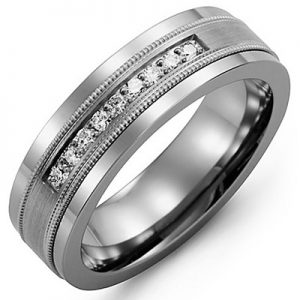 image of 21-702 Men Diamond wedding bands_White gold set with total of 9 diamonds round cut 0.15ct. total weight_