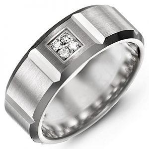 image of 21-703 Men Diamond wedding bands_White gold set with total of 4 diamonds round cut 0.06ct. total weight_