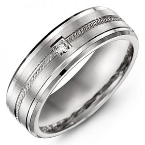 image of 21-705 Men Diamond wedding bands_White gold set with total of 0.10ct. princess cut diamonds