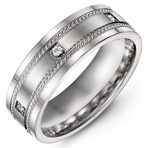 image of 21-706 Men Diamond wedding bands_White gold set with total of 7 diamonds round cut 0.14ct. total weight_