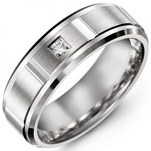 image of 21-708 Men Diamond wedding bands_White gold set with total of 1 diamonds round cut 0.04ct. total weight_