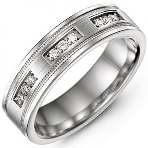 image of 21-709 Men Diamond wedding bands_White gold set with total of 9 diamonds round cut 0.15ct. total weight_