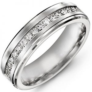 image of 21-712 Men Diamond wedding bands_White gold set with total of 25 diamonds round cut 0.50ct. total weight_