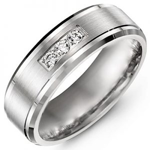 image of 21-713 Men Diamond wedding bands_White gold set with total of 3 diamonds round cut 0.09ct. total weight_