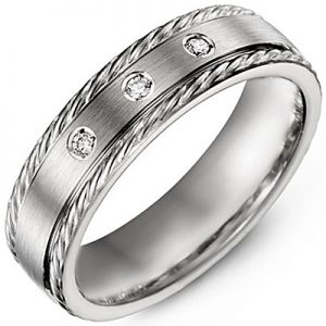 image of 21-714 Men Diamond wedding bands_White gold set with total of 3 diamonds round cut 0.07ct. total weight_