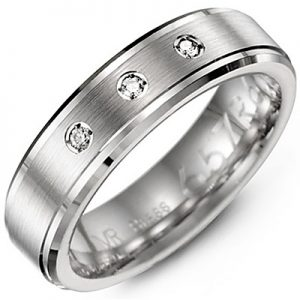 image of 21-715 Men Diamond wedding bands_White gold set with total of 3 diamonds round cut 0.09ct. total weight_