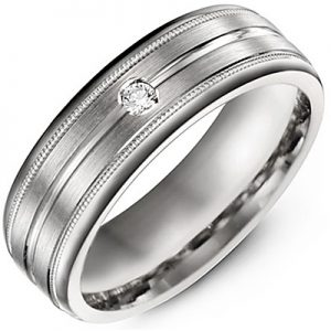 image of 21-716 Men Diamond wedding bands_White gold set with total of 1 diamonds round cut 0.05ct. total weight_