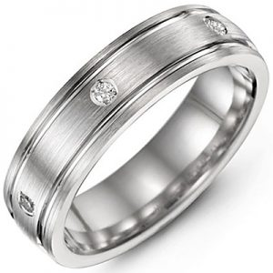 image of 21-717 Men Diamond wedding bands_White gold set with total of 8 diamonds round cut 0.21ct. total weight_