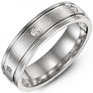 image of 21-718 Men Diamond wedding bands_White gold set with total of 8 diamonds round cut 0.21ct. total weight_