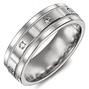 image of 21-721 Men Diamond wedding bands_White gold set with total of 8 diamonds round cut 0.21ct. total weight_