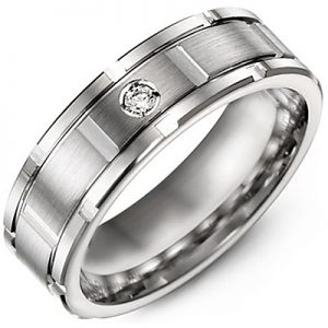 image of 21-722 Men Diamond wedding bands_White gold set with total of 1 diamonds round cut 0.04ct. total weight_