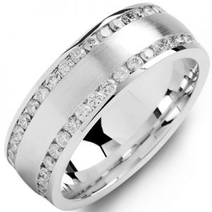 image of 21-729 Men Diamond wedding bands_White gold set with total of diamonds round cut channel set ONE ct. total weight_