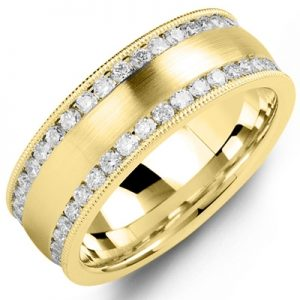 image of 21-730a Men Diamond wedding bands_White gold set with total of diamonds round cut channel set ONE ct. total weight