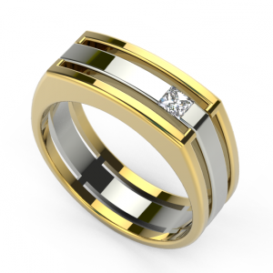 image of 21-828 Men Diamond wedding bands_White and yellow gold set with total of 1 diamond princess cut channel set 0.12 ct. total weight