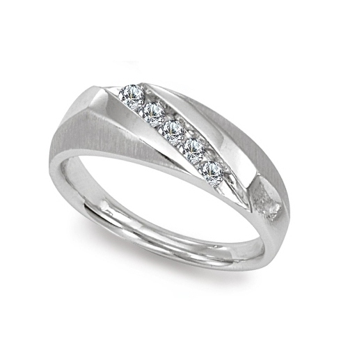 image of 21-G698 Men Diamond wedding bands_White gold set with total of 5 diamonds round cut channel set 0.18 ct. total weight_