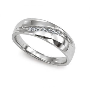 image of 21-G699 Men Diamond wedding bands_White gold set with total of 7 diamonds round cut channel set 0.20 ct. total weight_