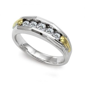 image of 21-G700 Men Diamond wedding bands_White gold set with total of 5 diamonds round cut channel set 0.50 ct. total weight_