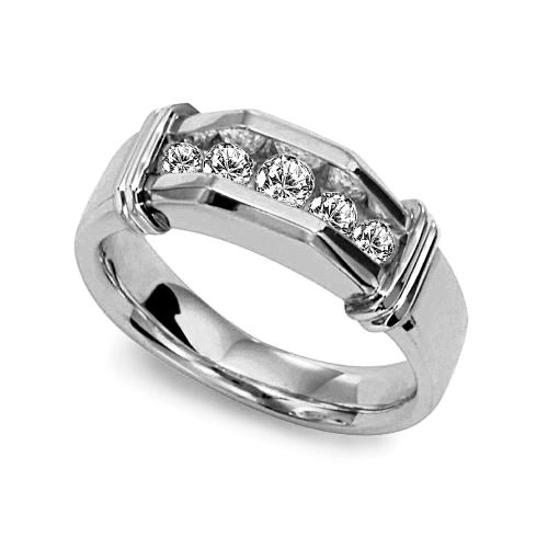 image of 21-G701W Men Diamond wedding bands_White gold set with total of 5 diamonds round cut channel set 0.75 ct. total weight_