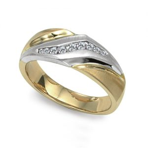 image of 21-G702 Men Diamond wedding bands_White gold set with total of diamonds round cut channel set 0.20 ct. total weight_