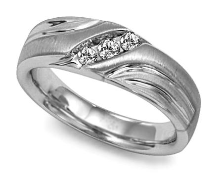 image of 21-G703W Men Diamond wedding bands_White gold set with total of 3 diamonds round cut channel set 0.10 ct. total weight_