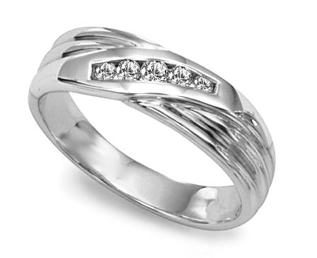 image of 21-G704W Men Diamond wedding bands_White gold set with total of 5 diamonds round cut channel set 0.20 ct. total weight_