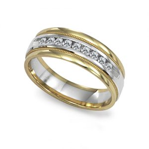 image of 21-G705 Men Diamond wedding bands_White gold set with total of 9 diamonds round cut channel set 0.25 ct. total weight_