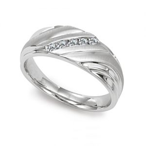 image of 21-G708 Men Diamond wedding bands_White gold set with total of 5 diamonds round cut channel set 0.18 ct. total weight_