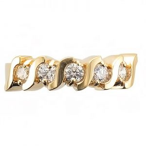 image of 33-500 DIAMOND BANDS_ SET WITH 5 DIAMONDS _S_ STYLE 0.25 CARAT TOTAL WEIGHT DIAMONDS