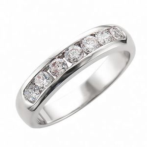 image of 33-511 DIAMOND BANDS_WHITE GOLD HALF ETERNITY RING CHANNEL SET WITH TOTAL WEIGHT OF 75 POINTS