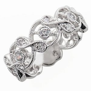 image of 33-512 DIAMOND BANDS_WIDE RING SET WITH DIAMONDS WITH TOTAL WEIGHT OF 20 POINTS