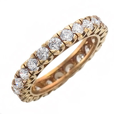 image of 33-513 DIAMOND BANDS_YELLOW GOLD FULL ETERNITY RING SET WITH TOTAL WEIGHT OF THREE CARAT_RM-357 3.21g in 14kt 3.2mm wide 2.5mm DIAMONDS
