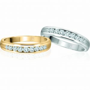 image of 33-545B WEDDING RING_DIAMOND SET RING IDEAL FOR ANNIVERSARY OR AS BAND 0.25Ct. diamonds