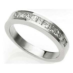 image of 33-558 WEDDING RING_HALF ETERNITY WITH PRINCESS CUT DIAMONDS CHANNEL SET IDEAL FOR ANNIVERSARY OR AS BAND