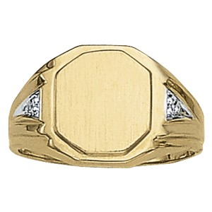image of 40-106 Signet ring_Rectangular design high polished accented with diamonds