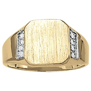 image of 40-107 Signet ring_Octagon design high polished accented with diamonds