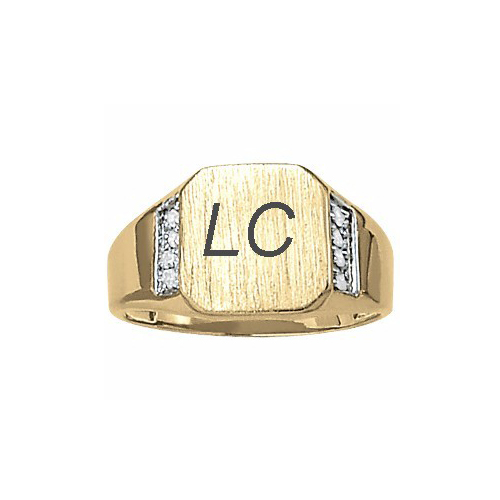 image of 40-107B Signet ring_Octagon design high polished accented with diamonds