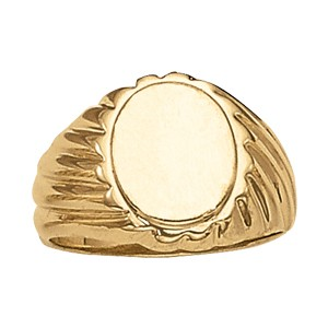 image of 40-108 Signet ring_Large oval design-Ridged pattern- high polished