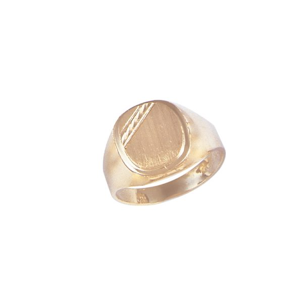 image of 40-110 Signet ring_Mans signet with diamond cut corner cushion style top