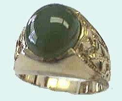 image of 40-130 - MENS JADE RING_Set with a fine quality Jade, 12X10 oval