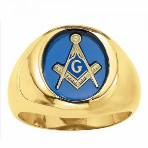 image of 40-183 MENS STONE RING_MASONIC STONE RING,12X10 OVAL