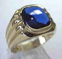 image of 40-540SY - MENS STONE RING_ Smooth looking Lab created Sapphire 8x10 cushion cut