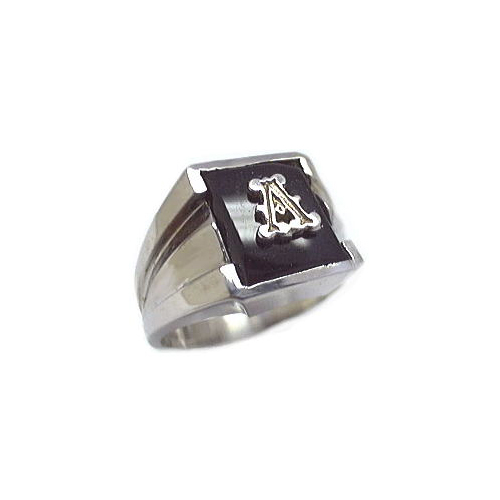 40-665B - MANS BLACK ONYX RING WITH INITIAL