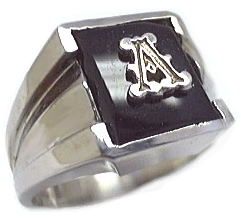 image of 40-665B - MENS STONE RING_10x8 BLACK ONYX RING WITH INITIAL