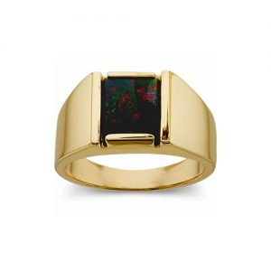 40-B525 Man Blood Stone ring, Fine quality rectangular cut, Bezel set, Classic style high polished ring, Stone Size 10x8mm stone size,