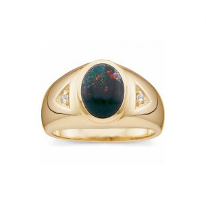 40-B526 Man Bloodstone Stone ring with side diamonds, Fine quality oval cut, Bezel set, 2 diamonds each 0.02ct. each with total weight of 0.04 carats. Classic style high polished ring, Stone Size 10x8mm stone size,