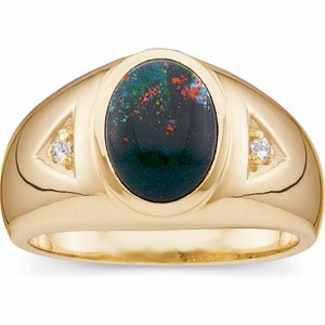 image of 40-B526 MENS STONE RING_FINE QUALITY 9x7 OVAL BLOOD STONE RING 0.03CT. DIAMONDS
