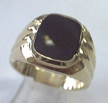 image of 40-B597 MENS STONE RING_10x12 CUSHION CUT BLACK ONYX RING