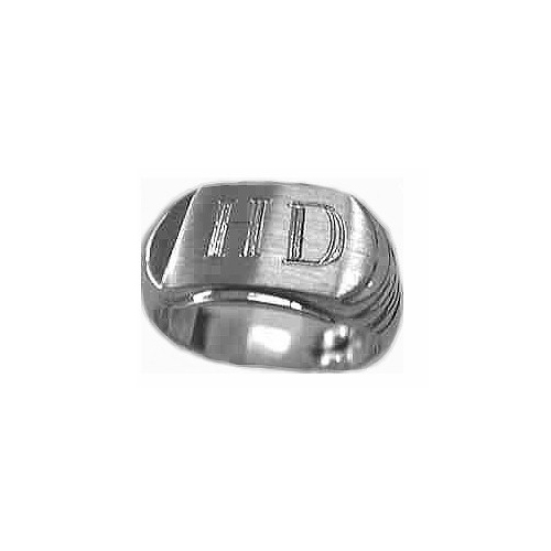 image of 40-G333 Signet ring_White gold Stylish solid gold signet ring, 16mm long and 11mm high