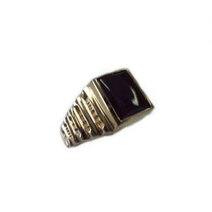 40-GB545 Men stone rings_Black onyx bezel set