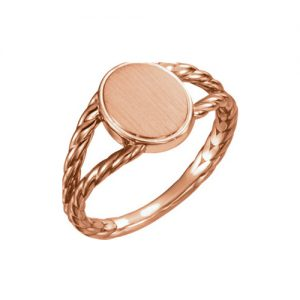 image of 40-GR102 Signet ring_Young girls style rose gold